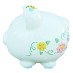 Personalized Flower and Bee Ceramic Piggy Bank