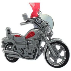 Engravable Pewter and Enamel Motorcycle Ornament