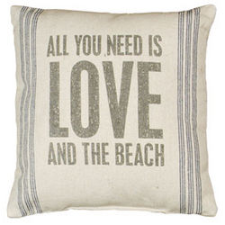All You Need is Love and the Beach Vintage Sack Pillow