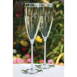 Glittering Beads Champagne Flutes