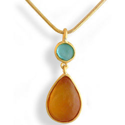 Artisan Glass Teardrop Orange and Teal Necklace