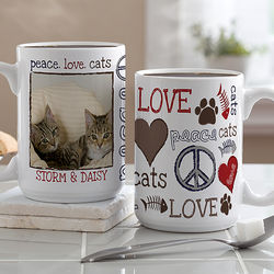 Peace, Love, Cats Custom Photo Coffee Mug