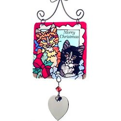 Engraved Christmas Kittens Stained Glass Ornament