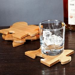Puzzled Bamboo Trivet and Coasters Set