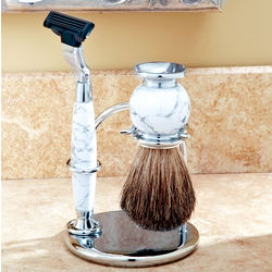 Engravable White Stone Handled Razor and Badger Shaving Brush