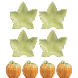 Pumpkin Shaped Covered Dishes and Leaf Shaped Plates Set