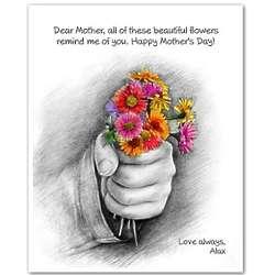 Flowers Picked for Mom Personalized Pencil Sketch 8x10 Print