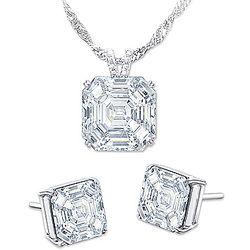 Diamonesk Simulated Diamond Pendant Necklace and Earrings Set