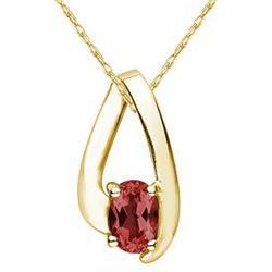 Garnet Loop Pendant Necklace in 10K Yellow Gold