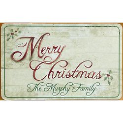 Personalized Festive Holiday Doormat in Choice of Language