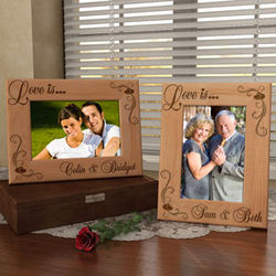 "Personalized ""Love is"" Wooden Picture Frame"