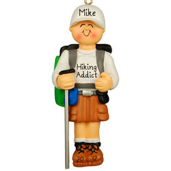 Personalized Hiking Male Christmas Ornament