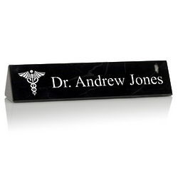 Personalized Black Marble Desk Nameplate for Doctors