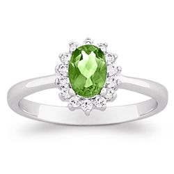 Sterling Silver Oval Peridot and Cubic Zirconia Ring