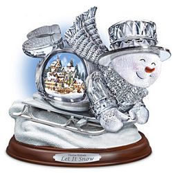 Thomas Kinkade Crystal Sledding Snowman Figurine