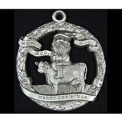 Santa On a Cow Pewter Ornament