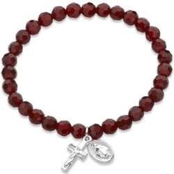 Silvertone Rosary January Birthstone Stretch Bracelet