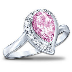 Lovely In Pink Pear-Shaped Topaz Journey Ring