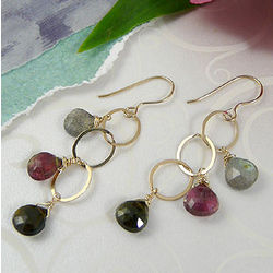 Watermelon Tourmaline Teardrop Earrings