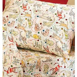 Playful Cat Flannel Sheet Set