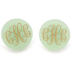Acrylic Circle Monogram Stud Earrings