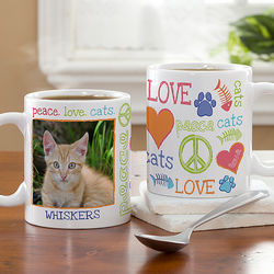 Peace, Love, Cats Small Photo Coffee Mug