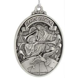 Engraved Pewter Trumpeting Angels Ornament