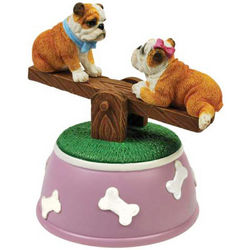 English Bulldogs on See-Saw Animated Musical Figurine