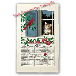 2015 Window Kitty Calendar Towel