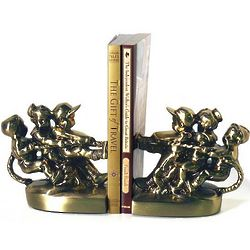 Tug Of War Bookends Brass