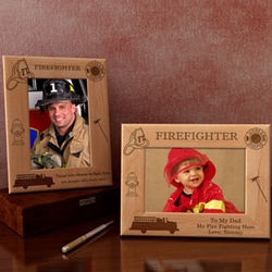 Personalized Firefighter Wooden Picture Frame