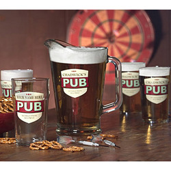 Personalized 'No Half Pints' Lager Glasses & Pitcher Set
