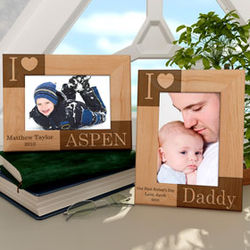 "Personalized ""I Love"" Wooden Picture Frame"