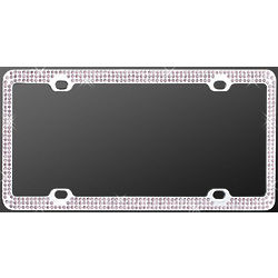Chrome Triple Purple Diamond License Plate Frame