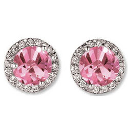14K White Gold Pink Sapphire Diamond Stud Earrings