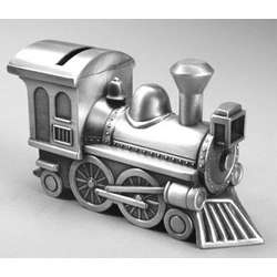 Engraved Pewter Finished Train Bank