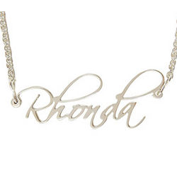 Personalized Silver Filigree Name Necklace in Fanfare Font