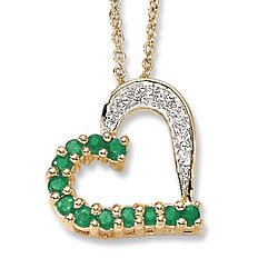 Birthstone and Diamond Accent Heart Pendant