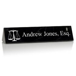 Personalized Black Marble Desk Nameplate for Lawyers