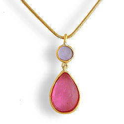 Pink and Lavender Artisan Glass Teardrop Necklace