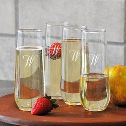 Engraved Stemless Champagne Flutes Set