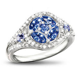 Exotic Beauty Tanzanite and Diamond Ring