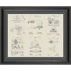 Early Automobile Patents Framed Art Print 20x24