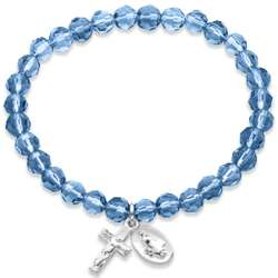 Silvertone Rosary December Birthstone Stretch Bracelet