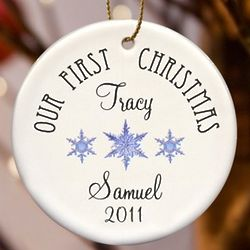 Personalized Our First Christmas Snowflake Ornament