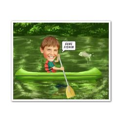Canoeing Custom Photo Caricature Print