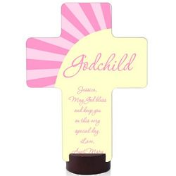 Personalized Pink Godchild Wall Cross