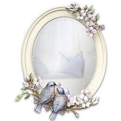 Songbirds and Flowers Sculpted Mirror with Frosted Border