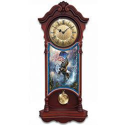 American Spirit Patriotic Eagle Illuminated Wall Clock