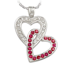 Always In My Heart Engraved Diamond and Ruby Heart Pendant